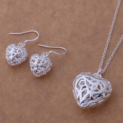 925 Sterling Silver Hollow Heart Pendant Jewelry Set
