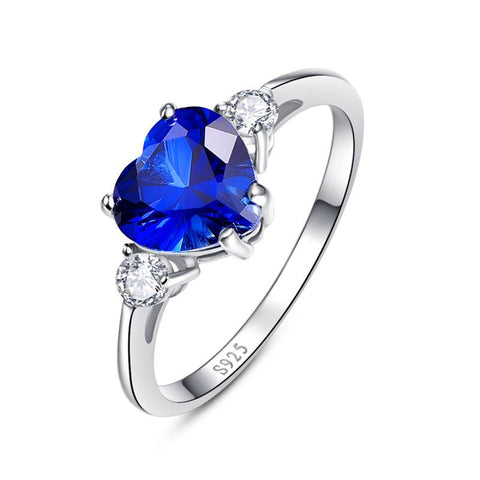925 Sterling Silver 2.25Ct. Princess Cut Blue Sapphire Ring
