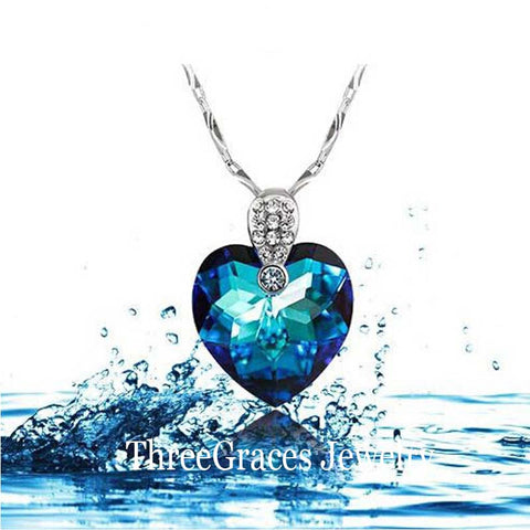 925 Sterling Silver Classic Heart Of The Ocean Blue Sapphire Pendant Necklace