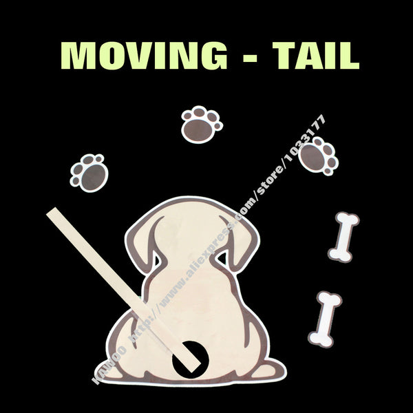 Moving Dog Tail Rear Wiper Decal