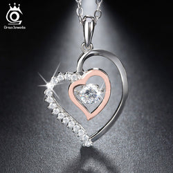925 Sterling Silver & Rose Gold Double Heart Pendant Necklace