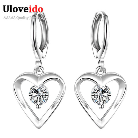 Vintage Crystal & Silver Heart Pendant Earrings