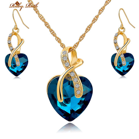 Gold and Crystal Heart Pendant Necklace and Earring Set