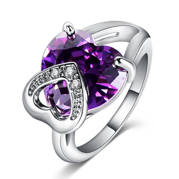 Double Heart Shaped Amethyst & Silver Ring