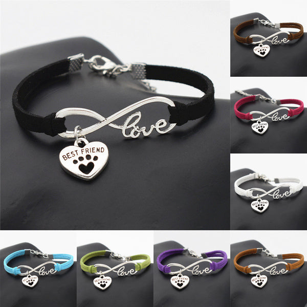 Antique Silver Infinity Paw Print Heart Charm Bracelets