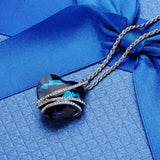 Romantic Blue Crystal Heart Pendant Necklace