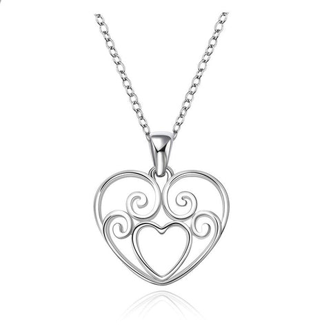 925 Sterling Silver Swirl Heart Necklace