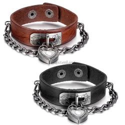 Men/Women's Leather Heart Lock Bracelet