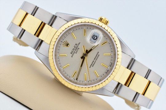 RESERVED for ben88brooks Mens Rolex Date Two Tone 18kt Yellow Gold & Stainless Oyster Band 18k Bezel Silver Dial 15223 Excellent Condition
