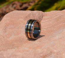 Pure Tungsten and 14kt Yellow Gold with Titanium Milgrain 10mm Exotic Black Ebony Wood Wedding Band Mens or Ladies Sizes 4-17 & 1/4 sizes
