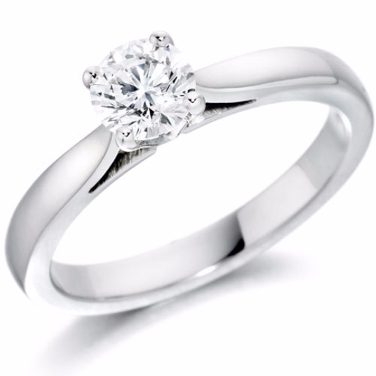 Solitaire 14kt White Gold Engagement Ring Round Diamond 0.26pts HandCrafted 14kt White or Yellow Gold