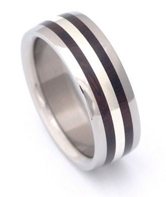 Pure Tungsten and Titanium Desert Iron Wood Double Row Band Mens or Ladies Custom Made Hand Crafted WEDDING Bands Any Size 4-17 & 1/4 sizes