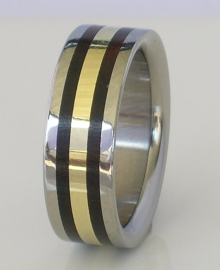 Titanium 14kt Yellow Gold Black Ebony Exotic Wood Wedding Ring 8mm