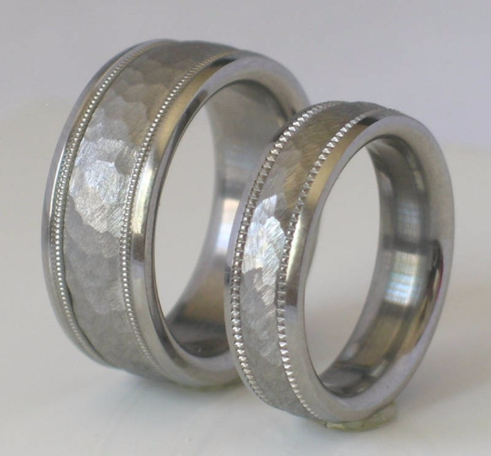 Custom Made Tungsten and Titanium Wedding Band Set Hammered Milgrain Design Available in mens and womens sizes 4-18