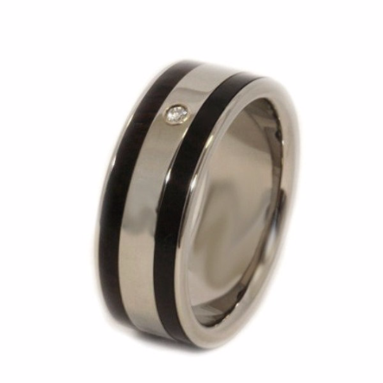 Pure Tungsten and Titanium Exotic Black African Ebony Wood Genuine Diamond Mens Ladies Hand Crafted WEDDING Bands Any Size 4-17 & 1/4 sizes