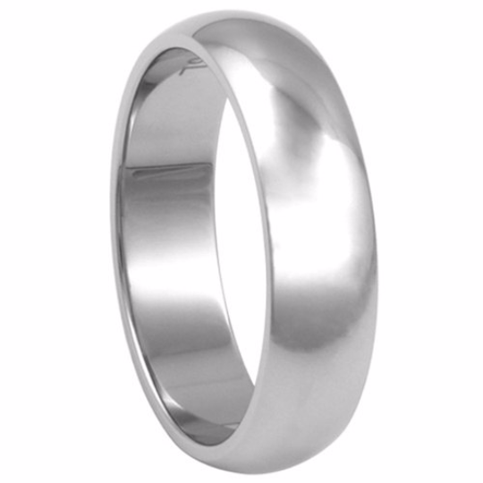 14kt White Gold Wedding Band 6mm Half Dome