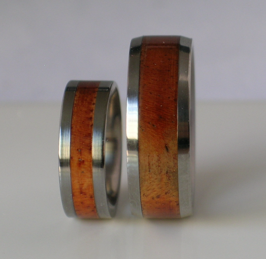 Koa Tungsten Wooden Wedding Bands Set of TWO Custom Made Rings Inlaid Exotic Koa Size 4 5 6 7 8 9 10 11 12 13 14 15 16 17