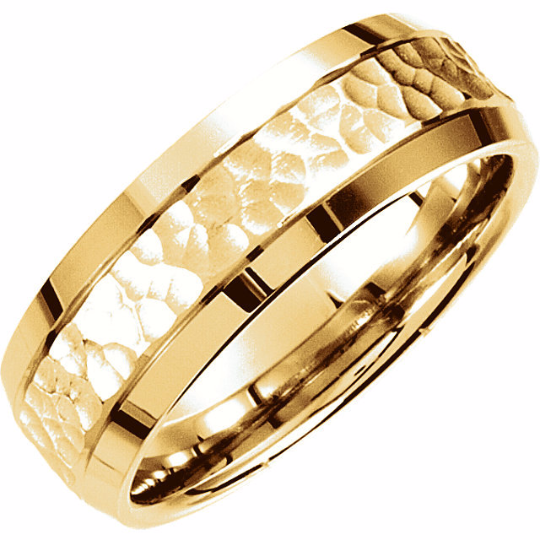 14kt Yellow Gold Wedding Band Hammer Design 8mm Width Beveled Edge Rhodium Finish Size 7 8 9 10 11 12 & in 1/4 Size increments