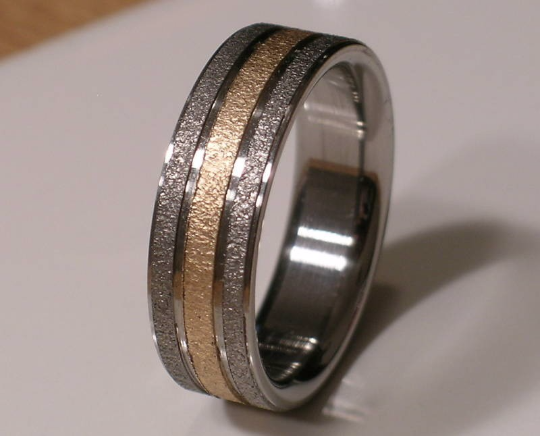 Pure Tungsten and Titanium with 14kt Yellow Gold Wedding Ring 8mm Mens or Ladies Band Size 4 5 6 7 8 9 10 11 12 1/4 increments