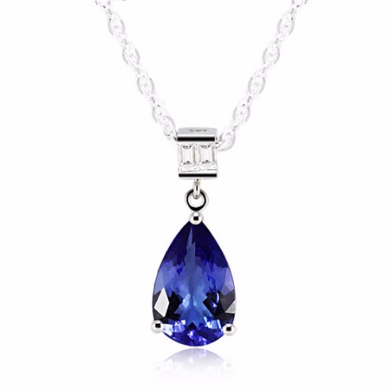 Natural Tanzanite Pear Shape 1.75cts to 2.00cts 14kt White Gold Pendant Design & Baguette Diamonds 0.20pts & Link Chain 18