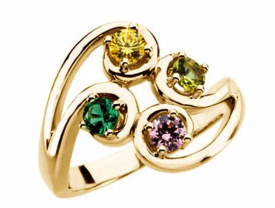 Mothers Ring Design 14kt Yellow Gold Four 4mm Stones any Combination of Gemstones you Preffer Size 3 4 5 6 7 8 9 Plus Half Sizes