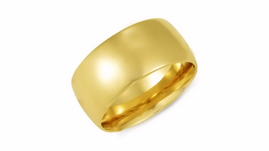 14kt Yellow Gold Wedding Band 10mm Dome