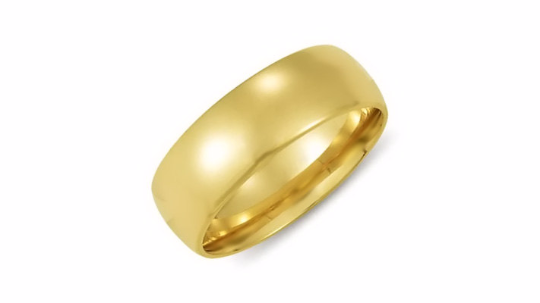14kt Yellow Gold Wedding Band 7mm Half Dome High Polish Design Custom Made Size 4 5 6 7 8 9 & 1/4 Size increments