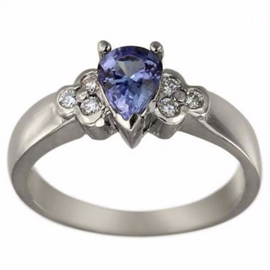 Natural Tanzanite Pear Shape Cut 2.00cts 14kt White Gold Ring Gemstone and Brilliant Cut Diamonds 0.30pts Sz 4 5 6 7 8 9 10 Half & 1/4 Sizes