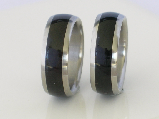 Titanium Wood Rings Custom Wedding Band Set Inlaid African Black Ebony Wood His and Hers Pair Available in Mens Ladies sizes 4 - 18