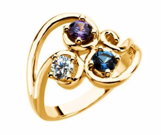 Mothers Ring Design 14kt Yellow Gold Three 4mm Stones any Combination of Gemstones you Preffer Size 3 4 5 6 7 8 9 Plus Half Sizes