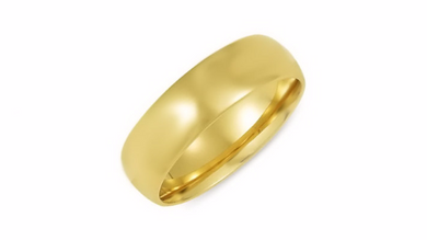 14kt Yellow Gold Wedding Band 6mm Half Dome High Polish Design Custom Made Size 4 5 6 7 8 9 & 1/4 Size increments