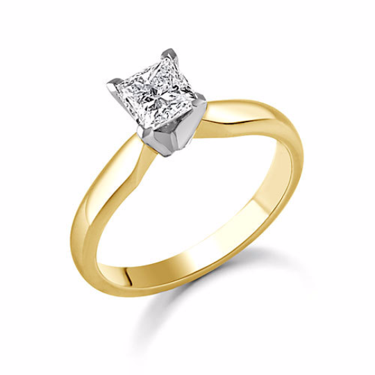 Princess Cut Diamond Solitaire 14kt Yellow Gold Engagement Ring Princess Diamond 0.25pts HandCrafted Size 3 - 9