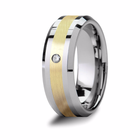 Tungsten 14kt Yellow Gold Wedding Ring Diamond Center 0.15pts High Polish Finish 9mm Mens Band Size 4 5 6 7 8 9 10 11 12 13 14 15 16 17