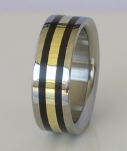 Titanium 14kt Yellow Gold & Black Ebony Exotic Wood Wedding Ring 8mm Mens or Ladies Band