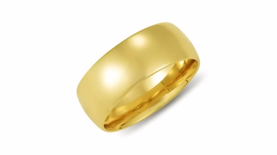 14kt Yellow Gold Wedding Band 8mm Half Dome High Polish Design Custom Made Size 4 5 6 7 8 9 & 1/4 Size increments