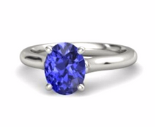 Natural Tanzanite Oval Cut 1.80 to 2.00cts 14kt White Gold Solitaire Ring Gemstone Size 4 5 6 7 8 9 10 Half & 1/4 Sizes