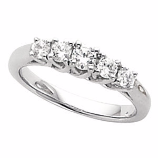 Diamond Anniversary Ring 14kt White Gold Five Stone Band