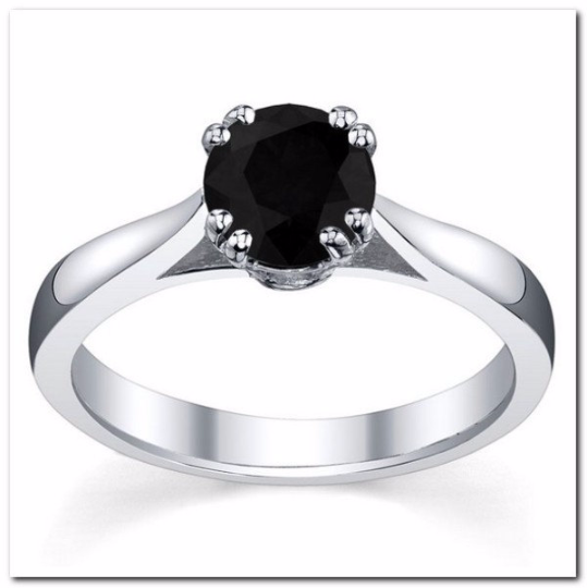 Round Black Diamond 1.00cts Solitaire 14kt White Gold Rhodiumed Size 7 8 9 10 11 12 & in 1/4 - 1/2 Size increments
