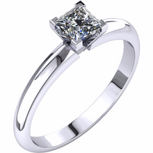 Princess Cut Diamond Solitaire 14kt White Gold Engagement Ring Princess Diamond 0.25pts HandCrafted 14kt White Yellow Gold Sz 3 - 9