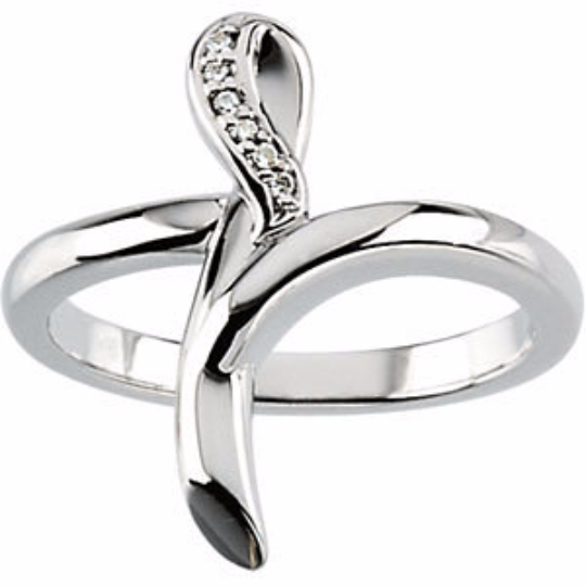 Diamond Cross Ring in 14kt White Gold or 14kt Yellow Gold