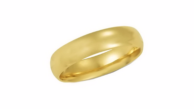 14kt Yellow Gold Wedding Band 5mm Half Dome High Polish Design Custom Made Size 4 5 6 7 8 9 & 1/4 Size increments