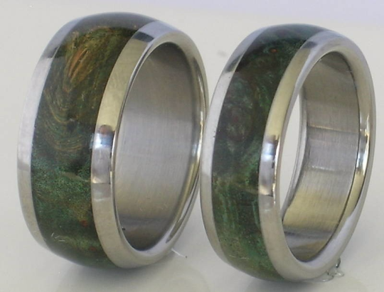 Custom TUNGSTEN Wedding Set Inlaid with Green Maple Burl Wood Rings Available for men and women in sizes 4-18