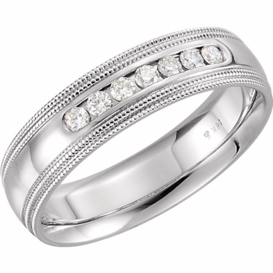 14kt White Gold Diamond Wedding Band 5mm Channel Set Size 5 to 12 & 1/4 size Increments