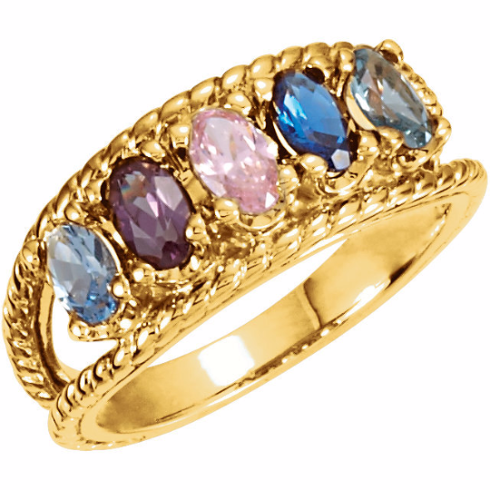 Five Stone Mothers Ring 14kt Yellow Gold Oval Stones Usajewelrylv
