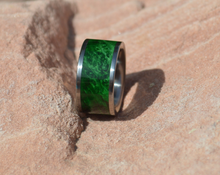 Green Maple Burl Wood Ring Pure Tungsten Wood Ring 10mm Mens or Ladies Wedding Bands Size 4 thrue 20 and in 1/4 Sizes