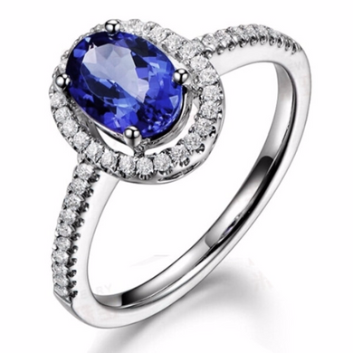 Oval Tanzanite and 14kt White Gold Halo Diamond Ring