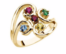 Mothers Ring Design 14kt Yellow Gold Five 4mm Stones any Combination of Gemstones you Preffer Size 3 4 5 6 7 8 9 Plus Half Sizes