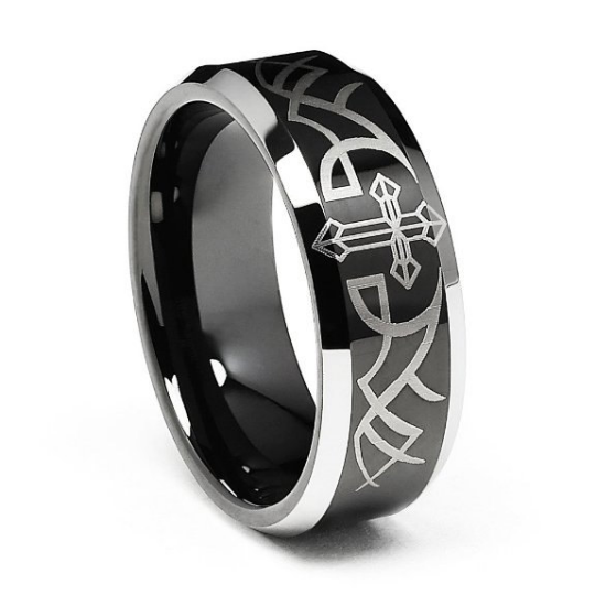Tungsten 8MM Wedding Band Beveled Black Cross Tungsten Carbide Ring Comfort Fit Design Size 8 8.5 9 9.5 10 10.5 11 11.5 12 12.5 13 13.5 14