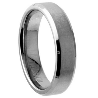 Titanium Wedding Band 5mm Width Satin & Polished Edges Design Size 5 6 7 8 9 10 11 12