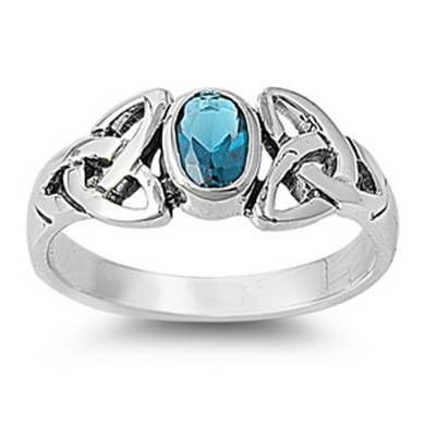 Celtic Design Sterling Silver Ring with Oval Cut Aquamarine Cubic Zirconia Gemstone HandCrafted Size 6 8